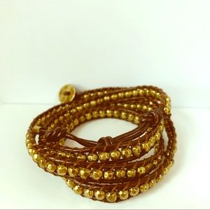 Jewelry - Leather Bronze tone beaded wrap bracelet necklace